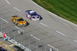 Matt Kenseth and Jeff Burton battle for the lead