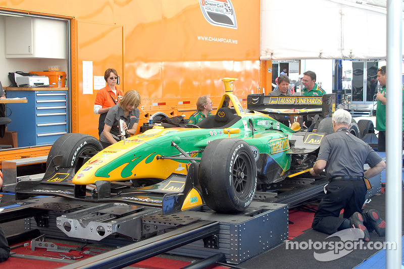 Will Power's car in Champ Car technical inspection