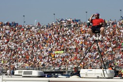 A Talladega fan sits comfortable