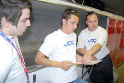 Nick Haye and Dane Cameron study Reliant Park track map