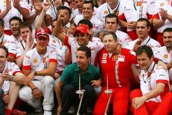 Victory celebrations at Ferrari: Michael Schumacher, Scuderia Ferrari, Advisor, Felipe Massa, Scuderia Ferrari, Jean Todt, Scuderia Ferrari, Ferrari CEO, Nicholas Todt Manager of Felipe Massa