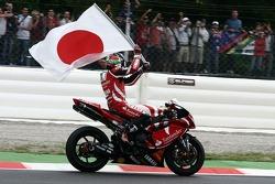 Race winner Noriyuki Haga celebrates