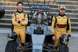 Romain Grosjean and Pastor Maldonado with the Mad Max Lotus F1 car