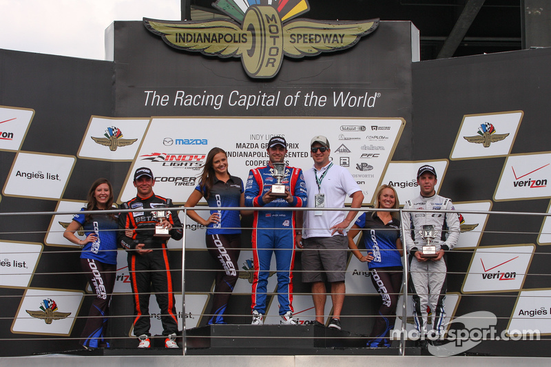 Podium: 1. Jack Harvey, Schmidt Peterson Motorsports, 2. Sean Rayhall, 8 Star Motorsports, und 3. Ed Jones, Carlin