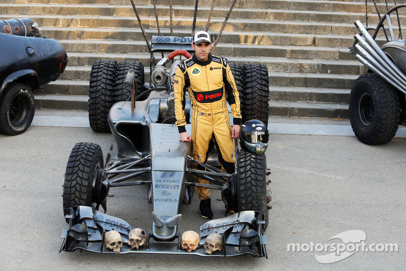 Pastor Maldonado, Lotus F1 Team with special race overalls and car livery to promote the film Mad Max: Fury Road