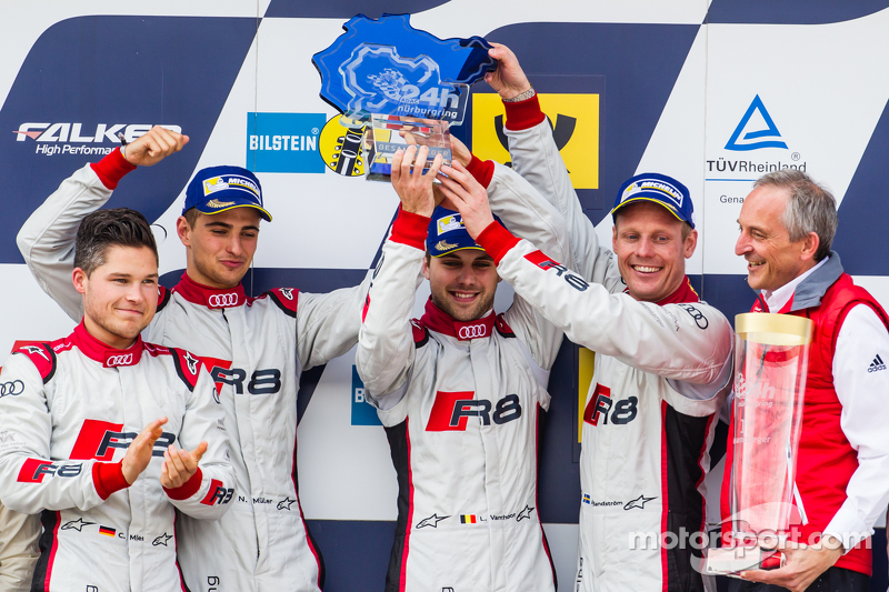 Podium: race winners #28 Audi Sport Team WRT Audi R8 LMS: Christopher Mies, Edward Sandström, Nico Müller, Laurens Vanthoor, celebrate with Romolo Liebchen, Head of Audi Sport customer racing