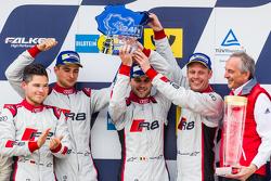 Podium: racewinnaars #28 Audi Sport Team WRT Audi R8 LMS: Christopher Mies, Edward Sandström, Nico Müller, Laurens Vanthoor, vieren feest met Romolo Liebchen, baas van Audi Sport customer racing