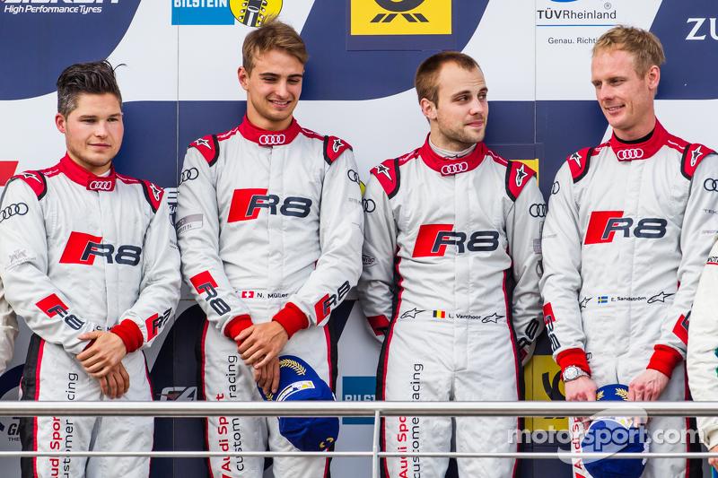 Podium: 1. #28 Audi Sport Team WRT, Audi R8 LMS: Christopher Mies, Edward Sandström, Nico Müller, Laurens Vanthoor