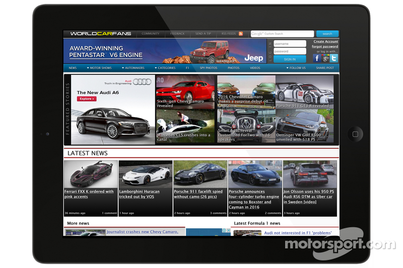 Screen shot of Worldcarfans.com