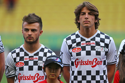 (L to R): Will Stevens Manor F1 Team and team mate Roberto Merhi Manor F1 Team at the charity football match