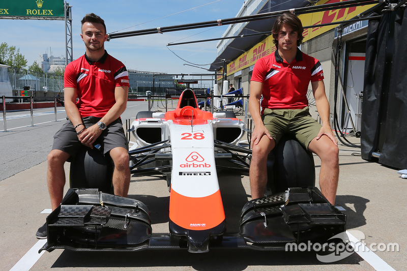 Roberto Merhi, Manor F1 Team, und Will Stevens, Manor F1 Team, bei der Vorstellung von Sponsor airbnb