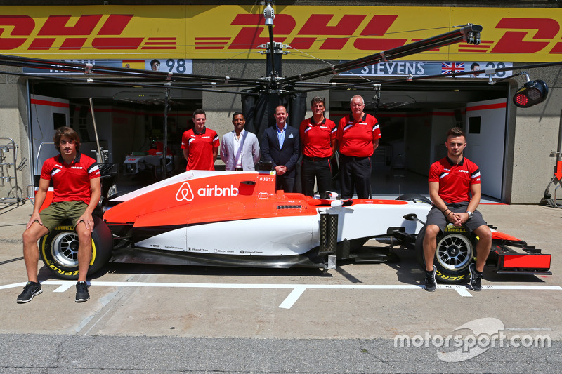 Roberto Merhi, Manor F1 Team and Will Stevens, Manor F1 Team; Graeme Lowdon, Manor F1 Team Chief Executive Officer and John Booth, Manor F1 Team Team Principal, as the team reveal airbnb as sponsors