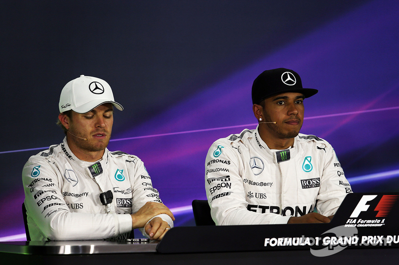 Second place Nico Rosberg, Mercedes AMG F1 and team mate and polesitter Lewis Hamilton, Mercedes AMG F1 in the FIA Press Conference