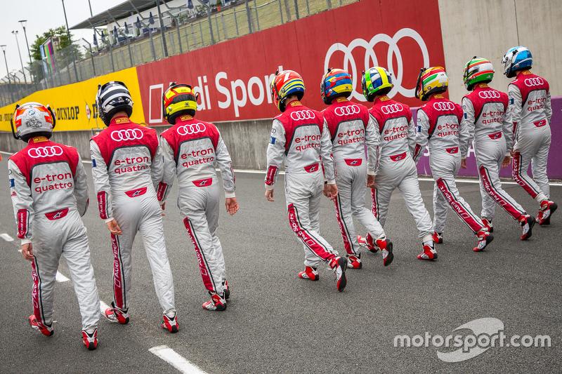 Audi Sport Team Joest: Marcel Fässler, André Lotterer, Benoit Tréluyer, Lucas di Grassi, Loic Duval, Oliver Jarvis, René Rast, Filipe Albuquerque, Marco Bonanomi