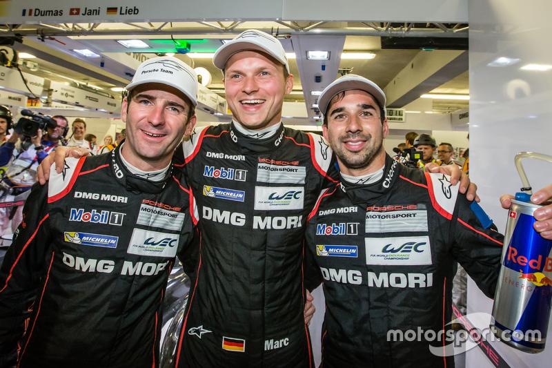 Pole winners Romain Dumas, Marc Lieb and Neel Jani