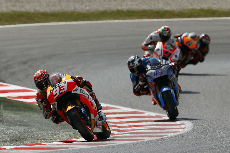Marc Marquez, Repsol Honda Team; Scott Redding, Marc VDS Racing, Honda; Danilo Petrucci, Pramac Racing, Ducati, und Stefan Bradl, Forward Racing, Yamaha