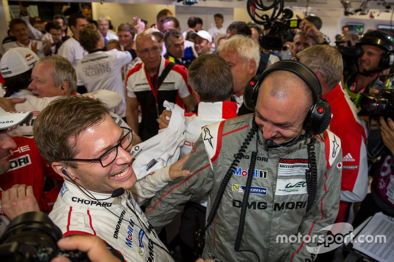 Porsche Team celebrates Le Mans overall victory in their garage