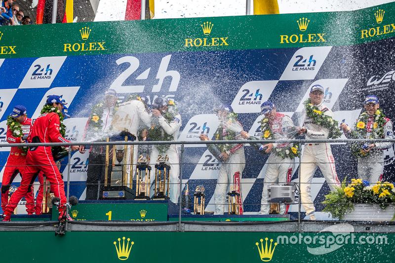 LMP1 podium celebrate with champagne