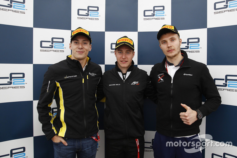 Race winner Stoffel Vandoorne, ART Grand Prix, second place Sergey Sirotkin, Rapax, third place Alex Lynn, DAMS