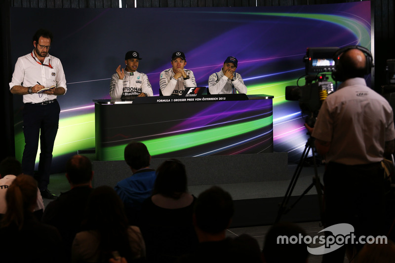 The post race FIA Press Conference,: Lewis Hamilton, Mercedes AMG F1, second; Nico Rosberg, Mercedes AMG F1, race winner; Felipe Massa, Williams, third..