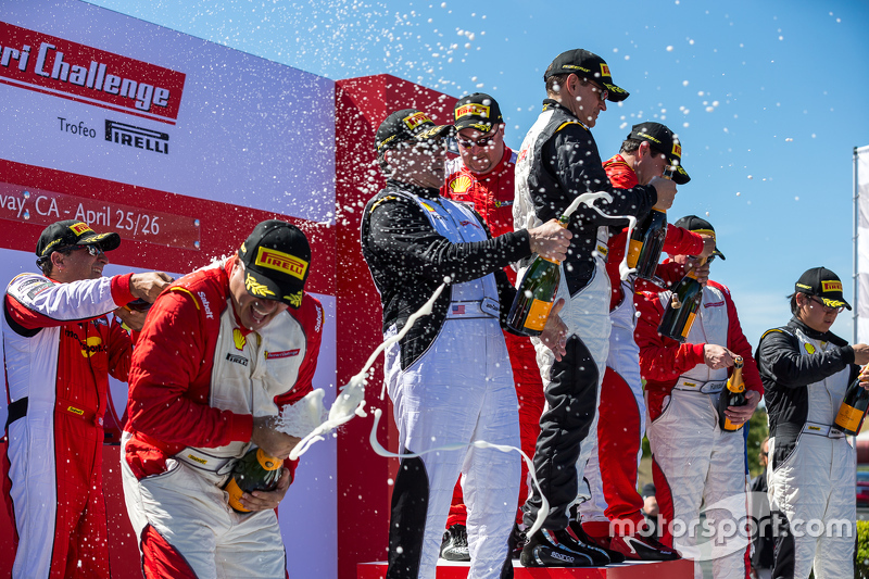 Podium champagne celebrations