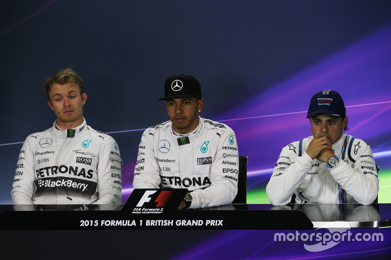 FIA Press Conference: Nico Rosberg and Lewis Hamilton, Mercedes AMG F1 and Felipe Massa, Williams, third