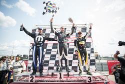 Podium : winner Kevin Lacroix, second place Andrew Ranger, third place Alex Tagliani