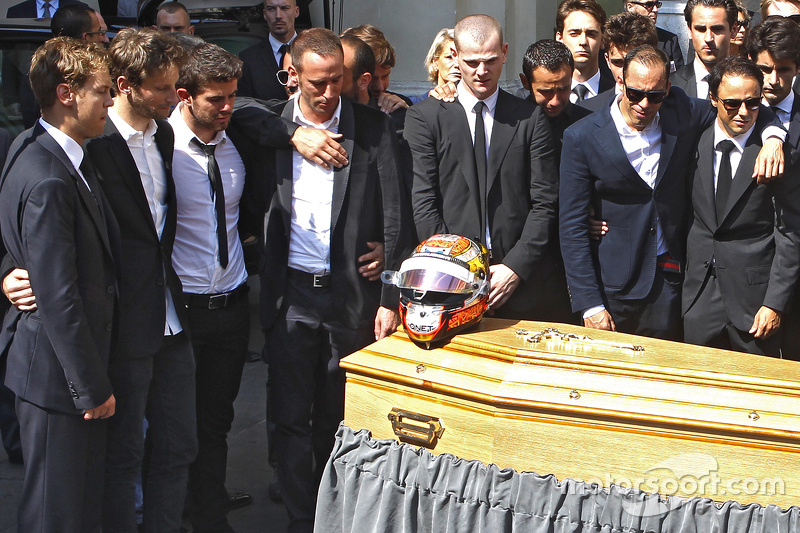 Sebastian Vettel, Romain Grosjean, Pastor Maldonado, Felipe Massa attend the funeral of Jules Bianchi di Nice, France