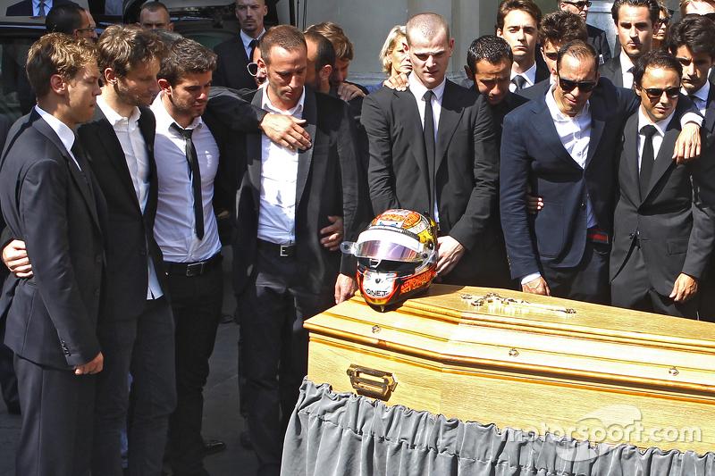 Sebastian Vettel, Romain Grosjean, Pastor Maldonado, Felipe Massa attend the funeral of Jules Bianchi in Nice, France