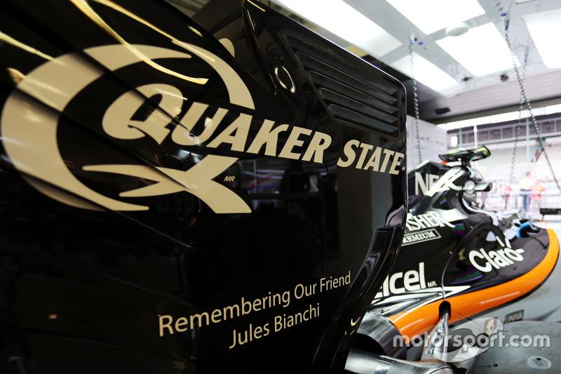 Sahara Force India F1 VJM08 pays tribute to Jules Bianchi