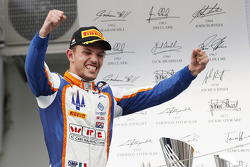 Race winner Luca Ghiotto, Trident celebrates his win on the podium