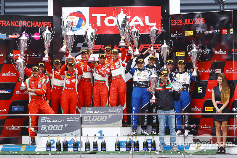 PRO-AM class podium: winners Stéphane Lemeret, Pasin Lathouras, Alessandro Pier Guidi, Gianmaria Bruni, second place Duncan Cameron, Matthew Griffin, Davide Rigon, Francisco Guedes, third place Devon Modell, Alasdair McCaig, Oliver Bryant, Alexander Sims