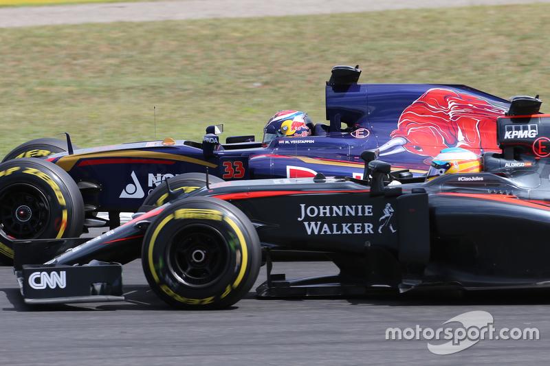 Fernando Alonso, McLaren Honda and Max Verstappen, Scuderia Toro Rosso