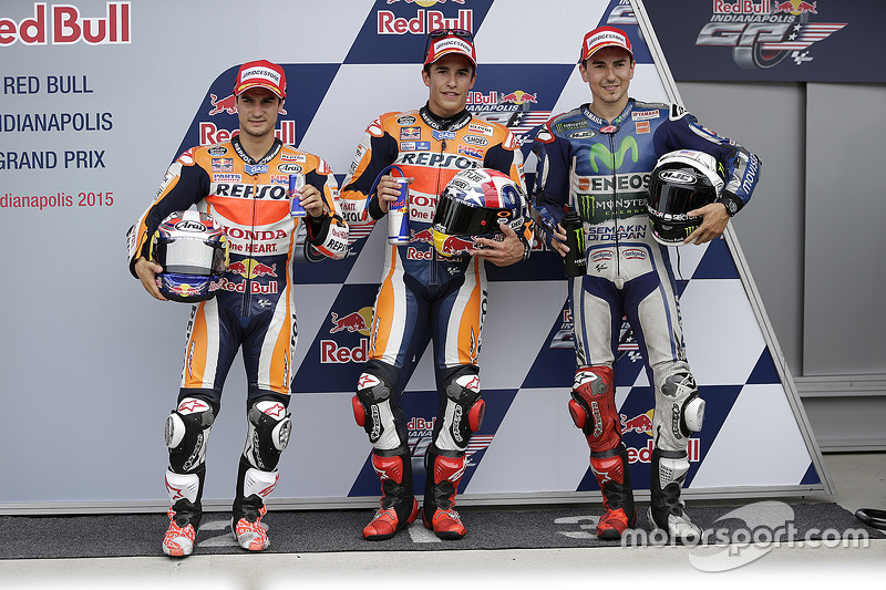 Polesitter Marc Marquez, Repsol Honda Team, second place Dani Pedrosa, Repsol Honda Team, third place Jorge Lorenzo, Yamaha Factory Racing