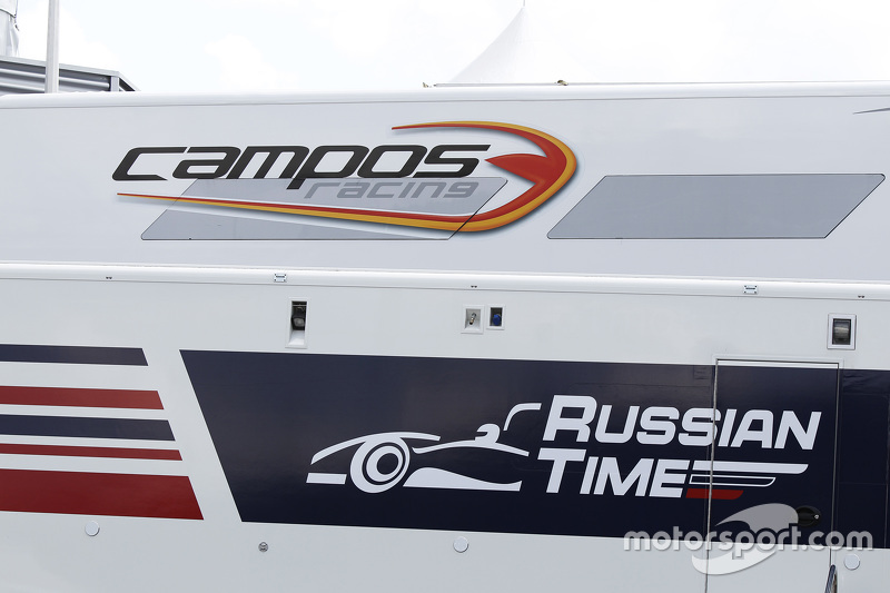 Campos Racing та RUSSIAN TIME логоs on the вантажівки