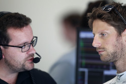(L to R): Julien Simon-Chautemps, Lotus F1 Team Race Engineer with Romain Grosjean, Lotus F1 Team
