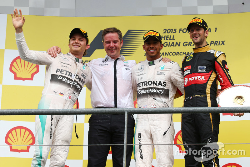 1st place Lewis Hamilton, Mercedes AMG F1 2nd place Nico Rosberg, Mercedes AMG F1 and 3rd place Romain Grosjean, Lotus F1 E23