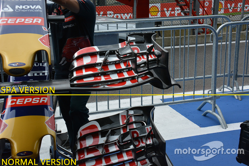 Red Bull Racing front wing comparison