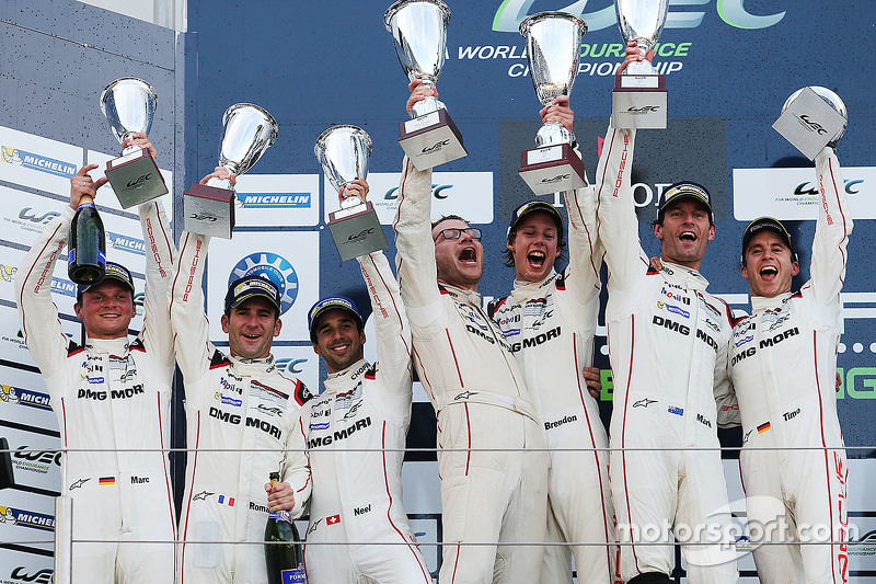 Podium: winners Timo Bernhard, Mark Webber, Brendon Hartley, Porsche Team, second place Romain Dumas, Neel Jani, Marc Lieb