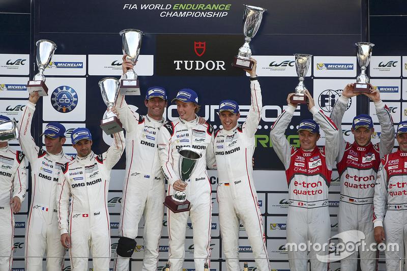 Podium: winners Timo Bernhard, Mark Webber, Brendon Hartley, Porsche Team, second place Romain Dumas, Neel Jani, Marc Lieb, third place Marcel Fässler, Andre Lotterer, Benoit Tréluyer, Audi Sport Team Joest
