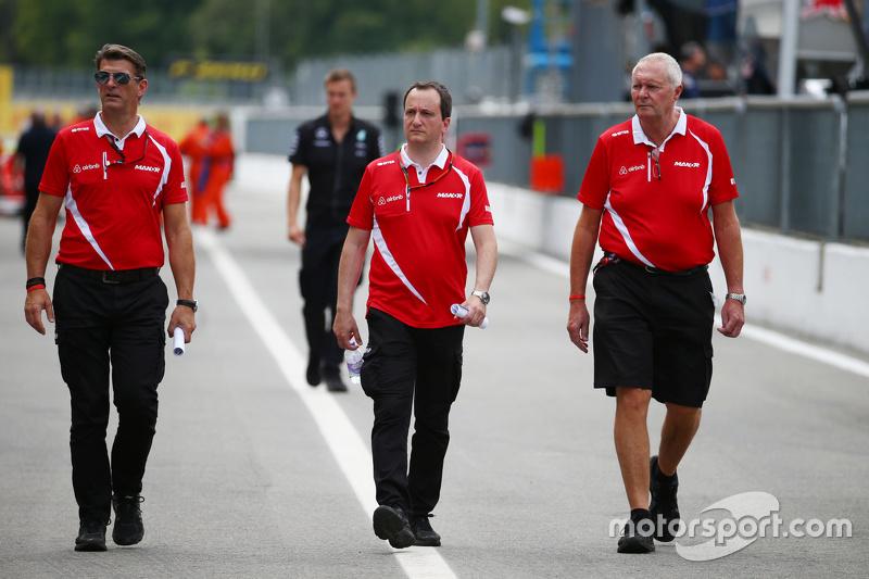 Graeme Lowdon, Gianluca Pisanello und John Booth, Manor Marussia F1 Team