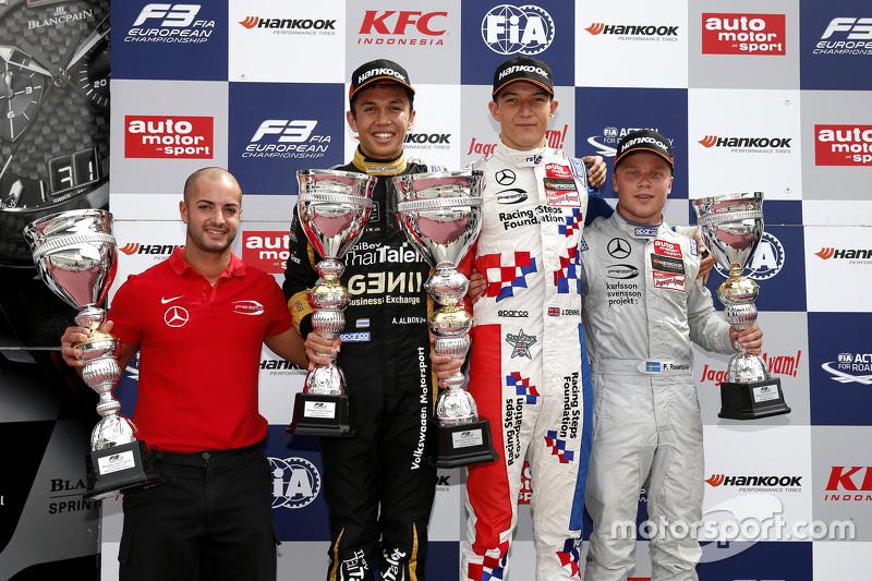Race 1 Podium: second place Alexander Albon, Signature and winner Jake Dennis and third place Felix Rosenqvist, Prema Powerteam