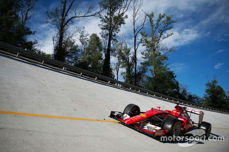 The Ferrari SF15-T on the Monza banking