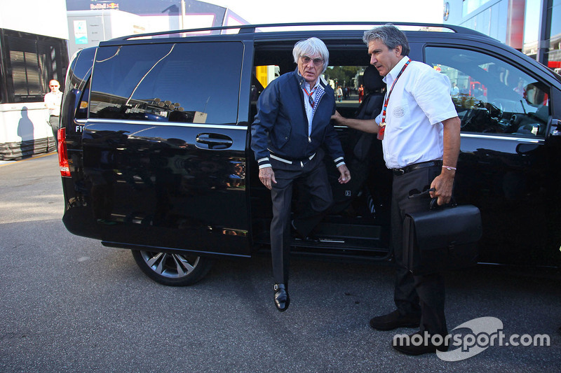 Bernie Ecclestone with Pasquale Lattuneddu of the FOM