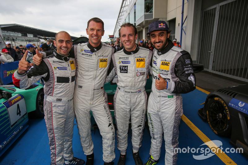 Race winners Adam Christodoulou, Hubert Haupt, Abdulaziz al Faisal, Yelmer Buurman, Black Falcon