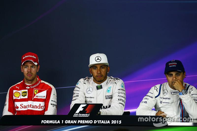 FIA-PK nach dem Rennen: 2. Sebastian Vettel, Ferrari; 1. Lewis Hamilton, Mercedes AMG F1; 3. Felipe Massa, Williams