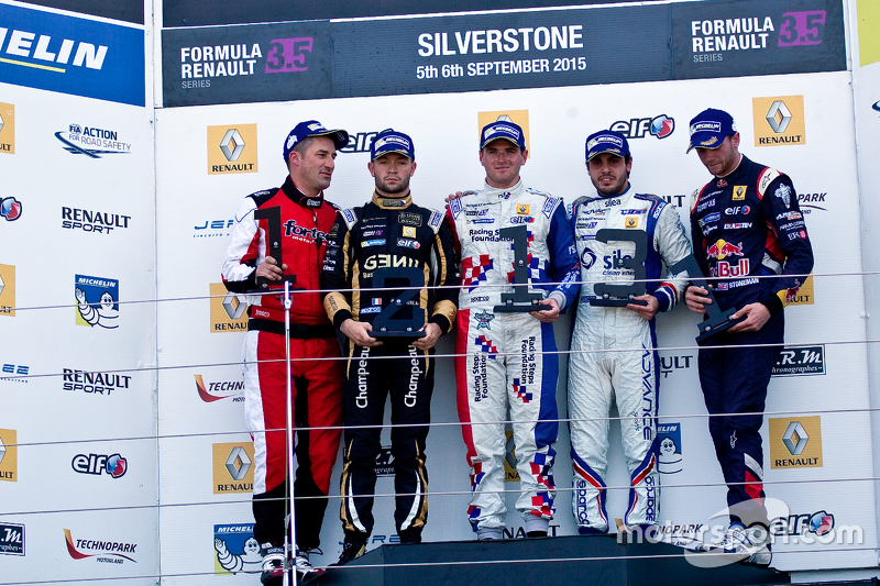 Podium: winner Oliver Rowland, second place Matthieu Vaxiviere, third place Pietro Fantin
