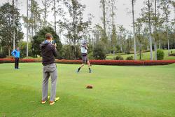 Andreas Mikkelsen, Jari-Matti Latvala and Miikka Anttila, Volkswagen Motorsport, go golfing at Bonville Golf Resort, Coffs Harbour