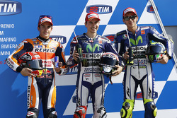 Second place Marc Marquez, Repsol Honda Team and polesitter Jorge Lorenzo and third place Valentino Rossi, Yamaha Factory Racing in parc ferme after qualifying