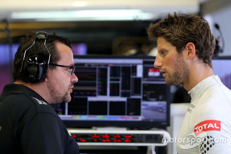 Julien Simon-Chautemps, Romain Grosjean race engineer, Lotus F1 Team and Romain Grosjean, Lotus F1 Team